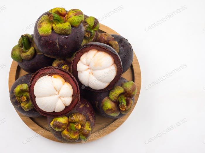 Mangosteen fruit on white background.Queen of Fruits