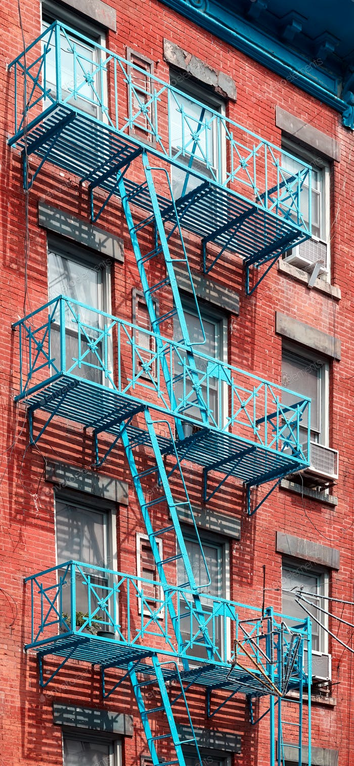 Blue fire escape in New York City.