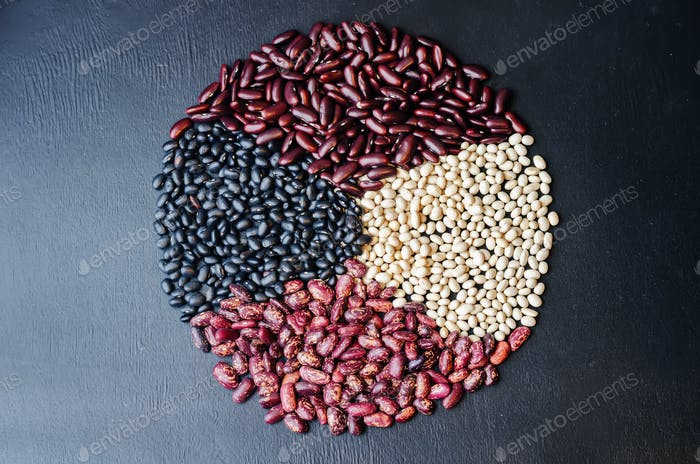 multicolored, black, white, red beans in the form of a circle