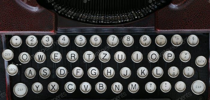 Keyboard of the old classical typewriter machine