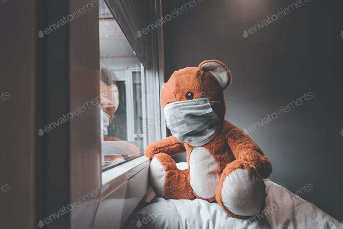 Bear toy with face mask looking out the window