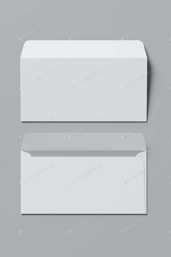 White blank postal envelopes on gray background. 3D rendering illustration