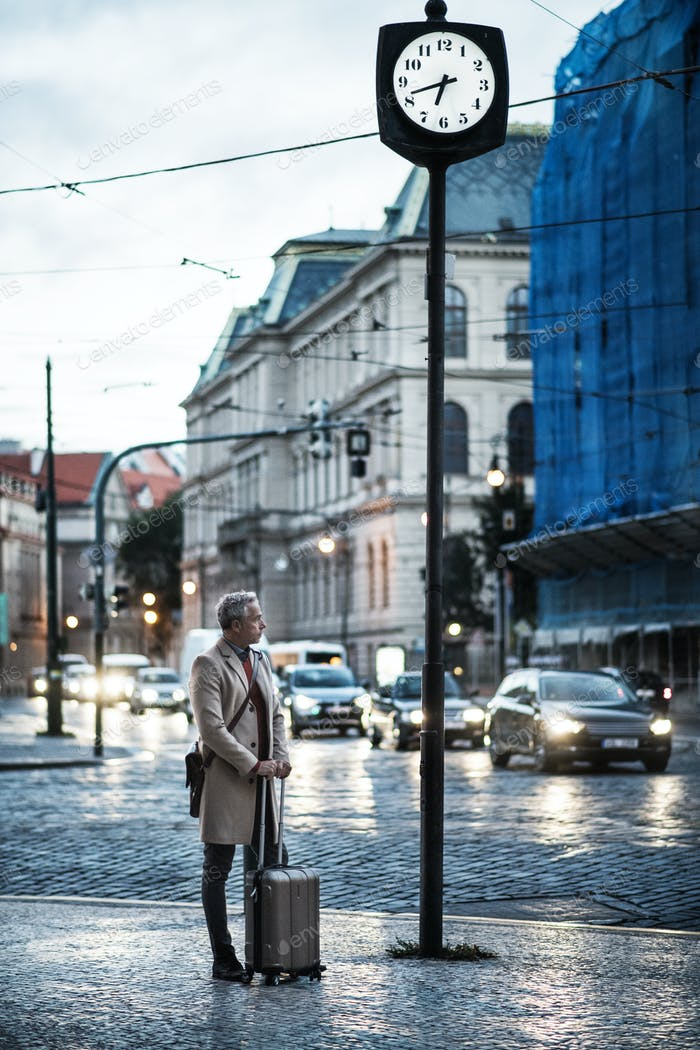 Mature businessman with suitcase standing by a road in city early in the morning.