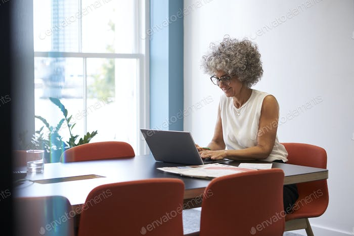 Smiling middle aged woman working alone in office  boardroom