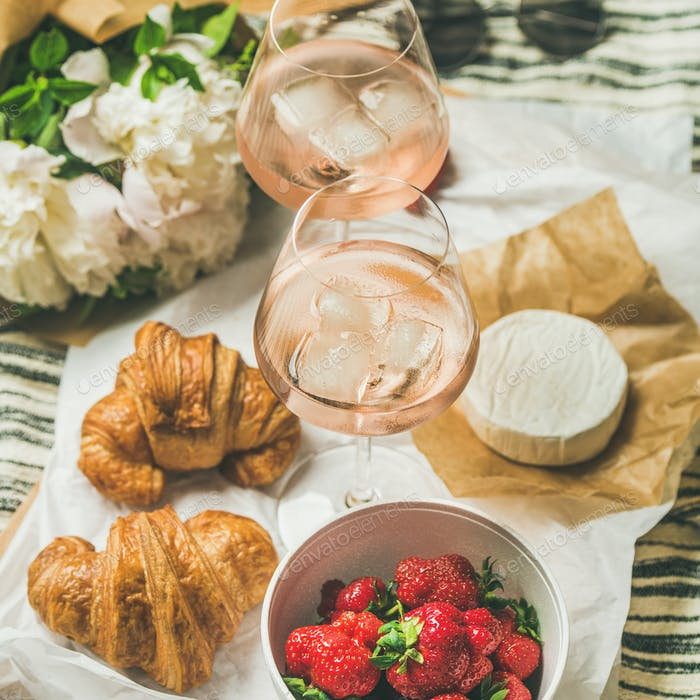 French style romantic summer picnic setting, square crop