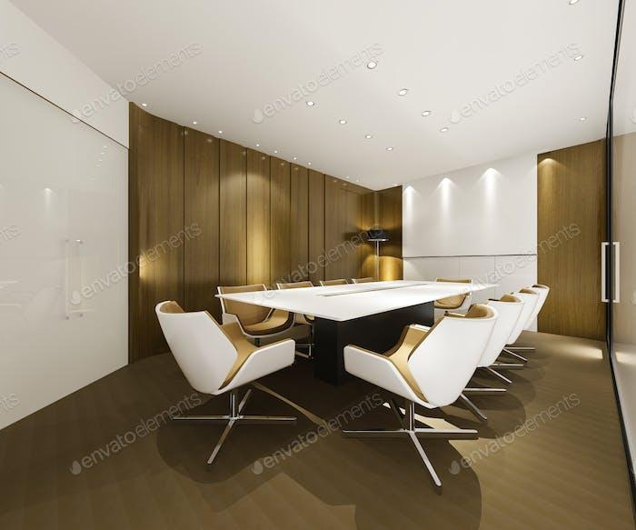 3D Rendering-Business-Meetingraum auf Hochhaus Bürogebäude