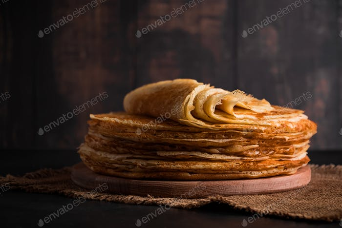 Traditional dish of crepes for the holiday Maslenitsa.
