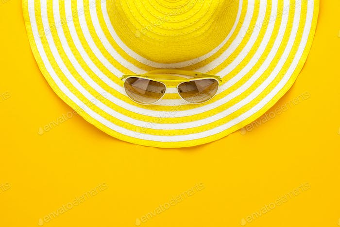 Sunglasses And Striped Retro Hat