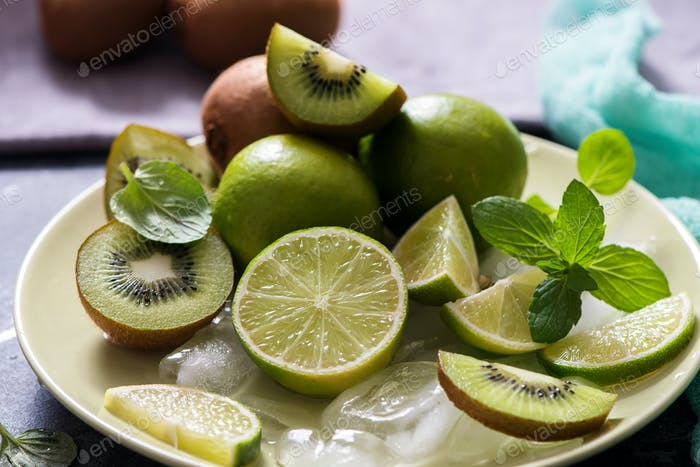 Fruits, Lime, Kiwi, Mint, Ingredietns for Cocktail Drink