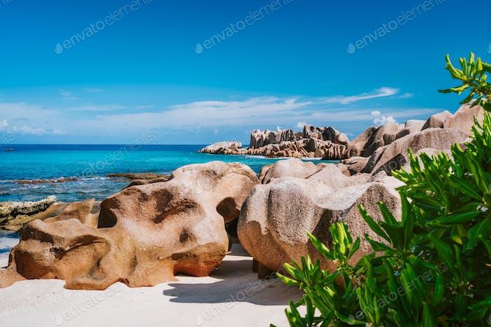 La Digue, Seychellen. Schöner abgelegener tropischer Strand mit grünem Laub, einzigartigen Granitfelsen und