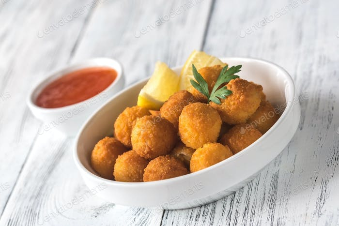 Bowl of scallop croquettes