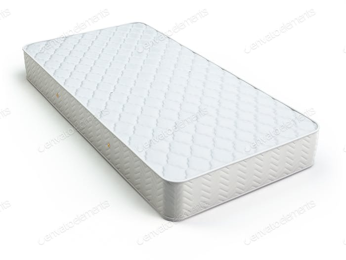 White mattress isolated on white.