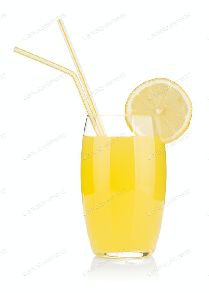 Zitronensaft Glas und zwei Trinkhalme
