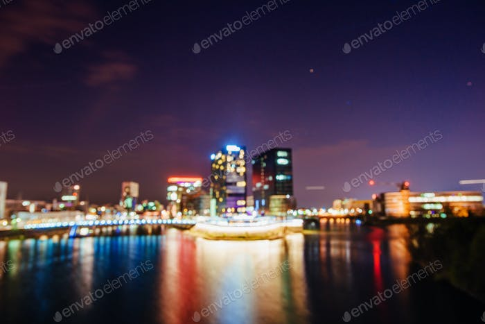 Night Dusseldorf.Germany.Natural blurred background. Soft light