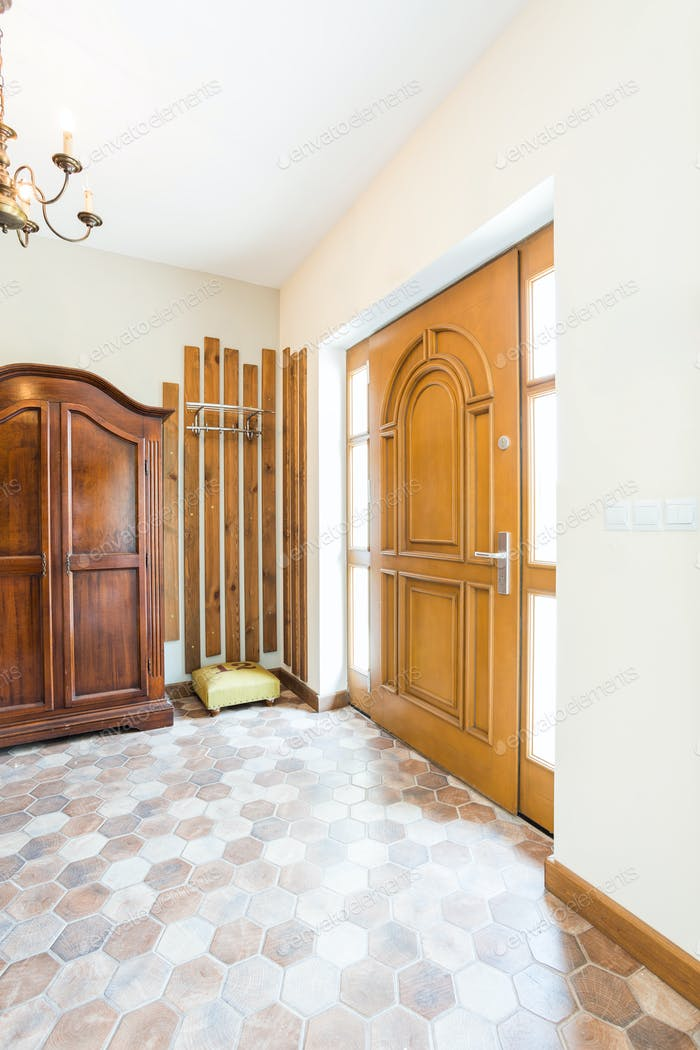 Hall with door and wardrobe