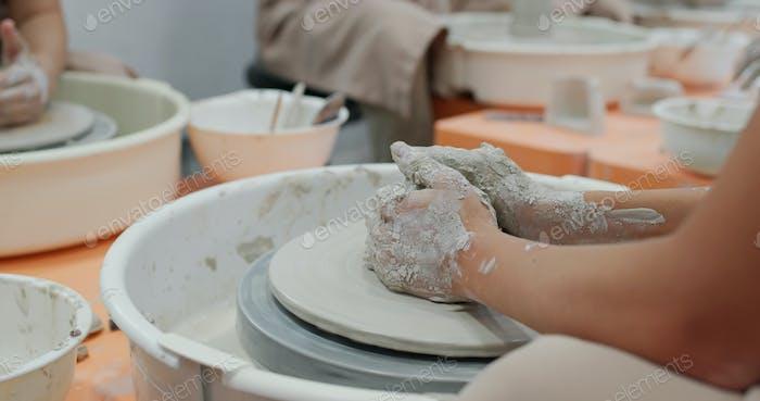 Pot clay art skill decoration workshop