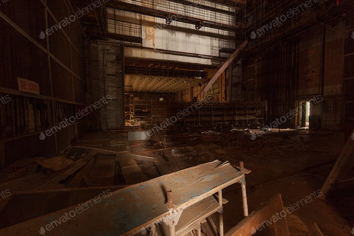 Inside of abandoned theater in ghost city Pripyat.