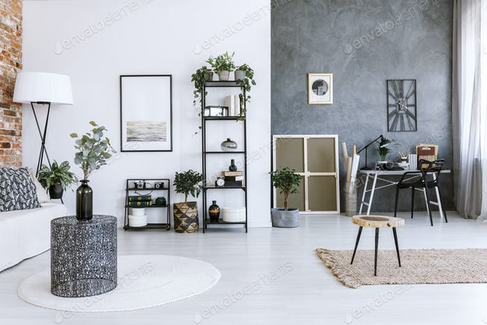 Grey home office with plants