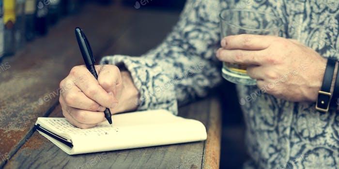 Hipster Man Writer Journal Inspiration Konzept