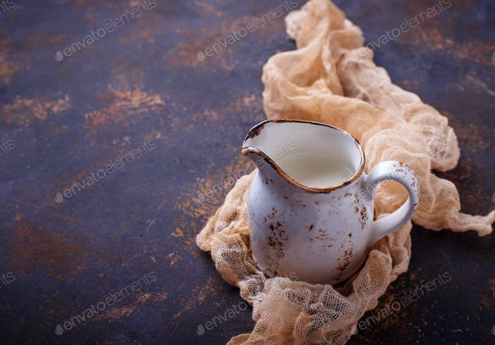Fresh milk in a jug.