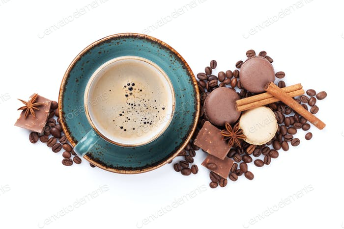Coffee cup, chocolate and macaroons