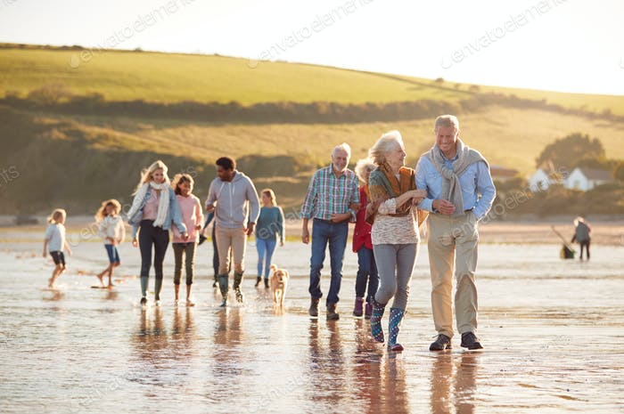 Active Multi-Generation Family With Dog Walking Along Shore On Winter Beach Vacation