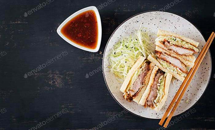 Katsu Sando Food Trend Japanese Sandwich With Breaded Pork Chop Cabbage And Tonkatsu Sauce Photo By Timolina On Envato Elements