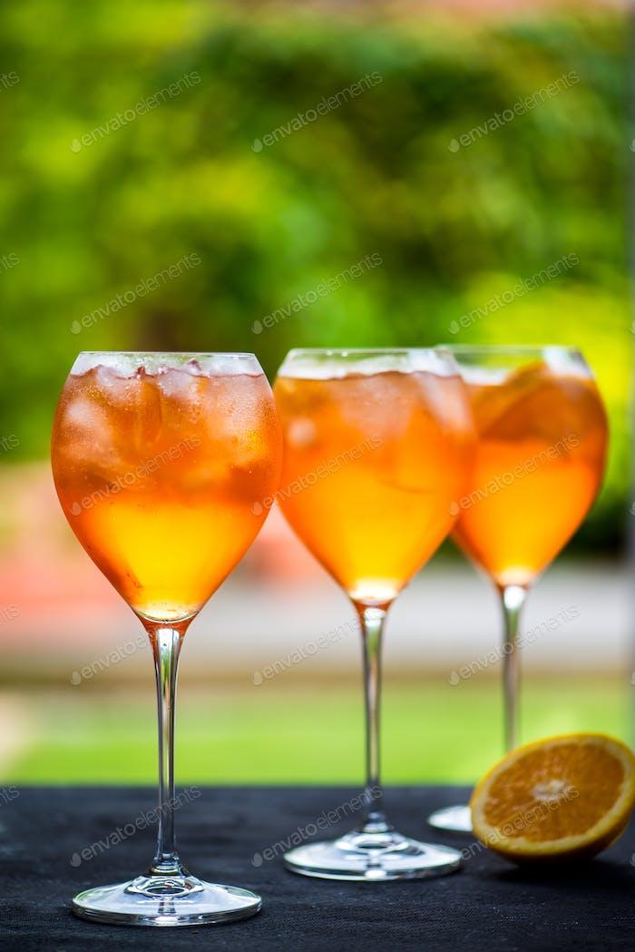 Summer Refreshing Aperitif Drink Aperol Spritz