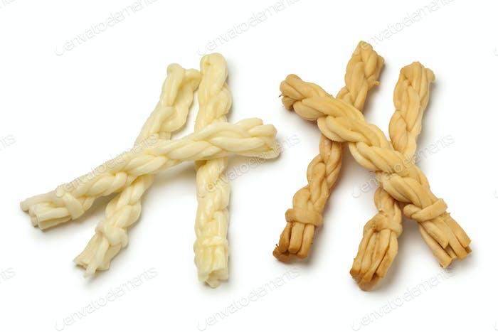 Traditional Slovak smoked and unsmoked korbacik string Cheese