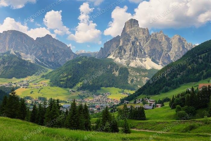 Sassongher peak and Corvara in Badia village in Dolomites Alps, Italy, Europe
