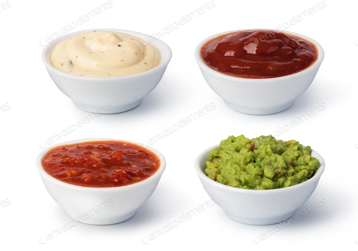 Bowls with sauces