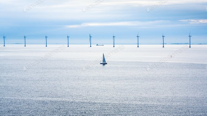 boat and ship near offshore wind farm in morning