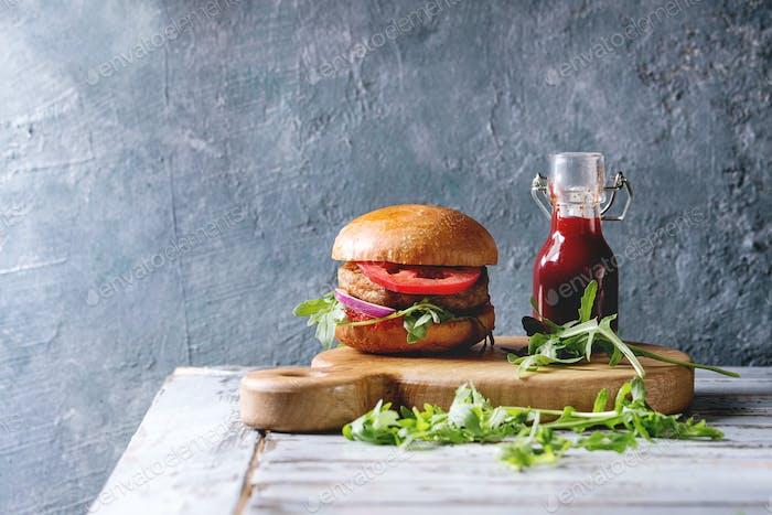 Homemade meat burger