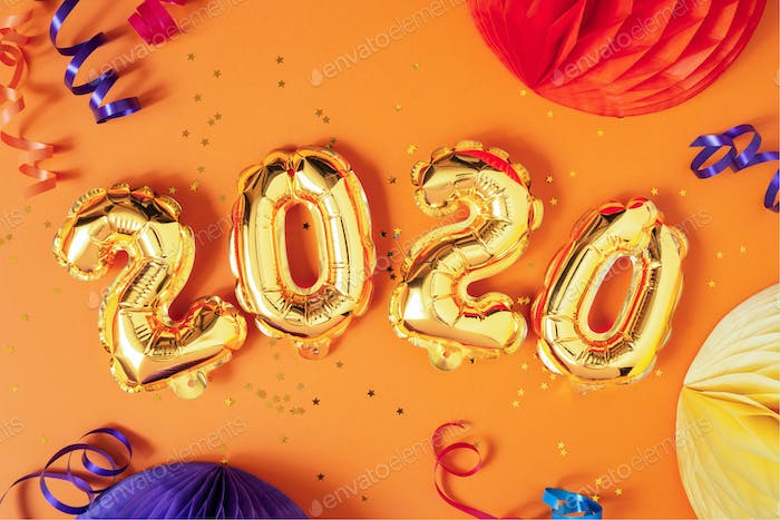 New Year 2020 Vibrant Composition, Air Balloons Figures