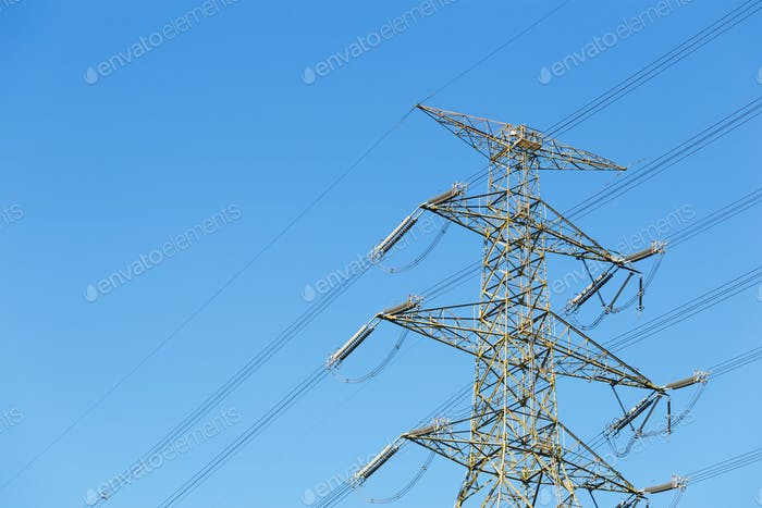 Power distribution tower with clear sky