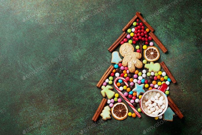 Candy, cookie and cinnamon christmas tree shape