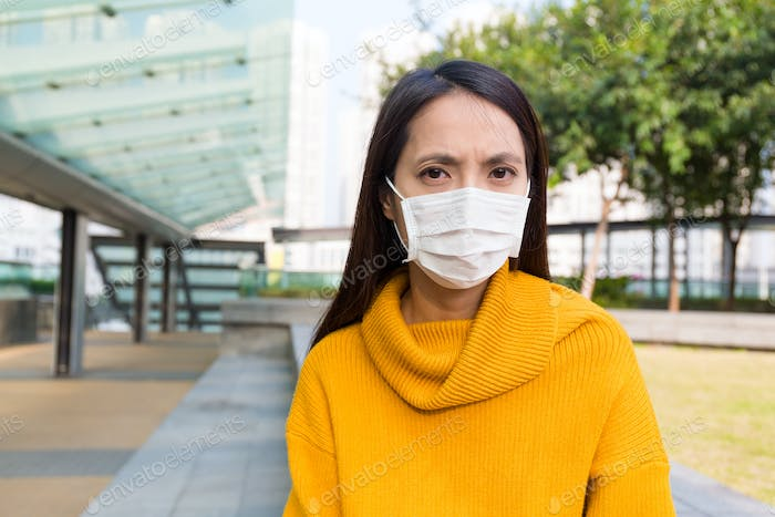 Asian Woman wearing the face mask