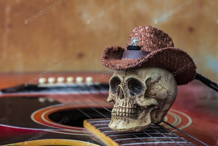Skull on guitar against a background