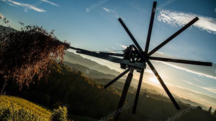Windmill at winery in Austria Styria tourist spot