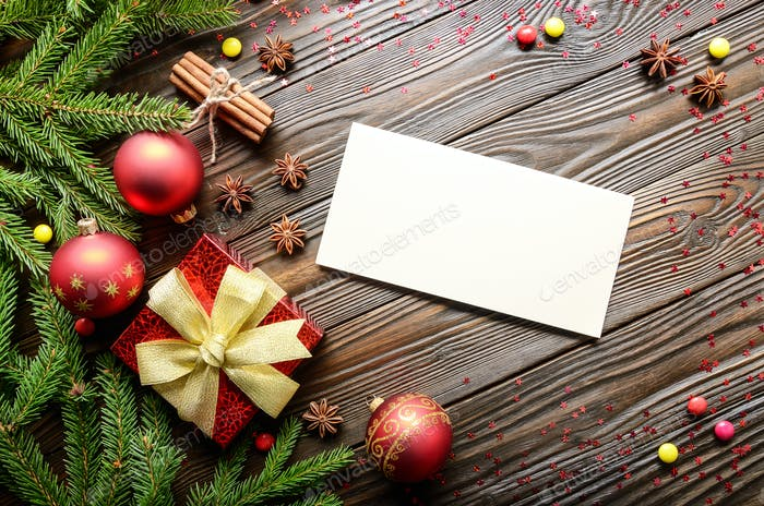 Flat lay of Christmas background with blank card