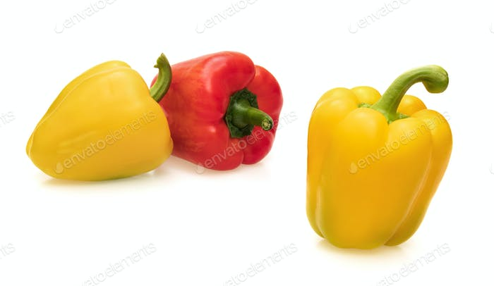 Yellow and red bell pepper isolated
