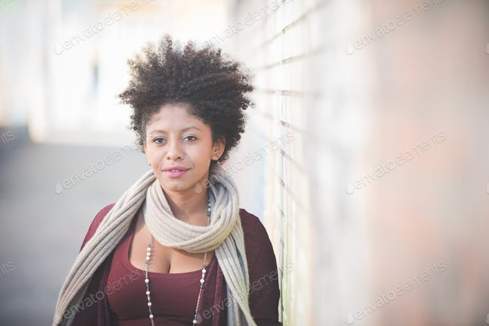 beautiful black curly hair african woman