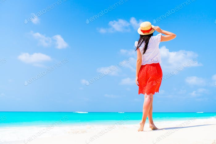 Young beautiful woman on tropical seashore. Back view of young girl background the sea