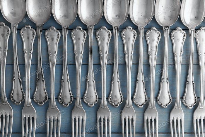 Set of antique silverware