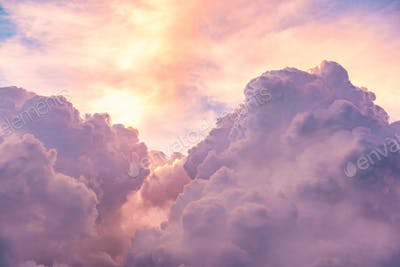 Clouds on sky sky pink and blue colors. Sky abstract background