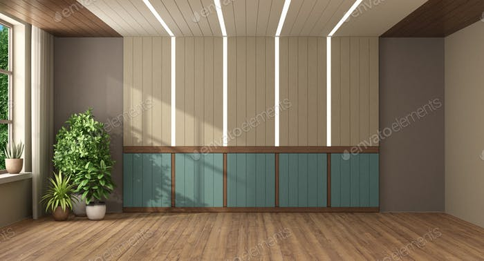 Empty room with wooden paneling with led light