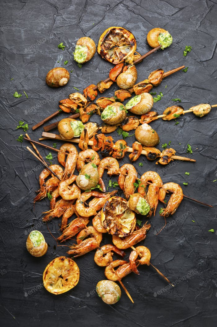 Delicious grilled seafood
