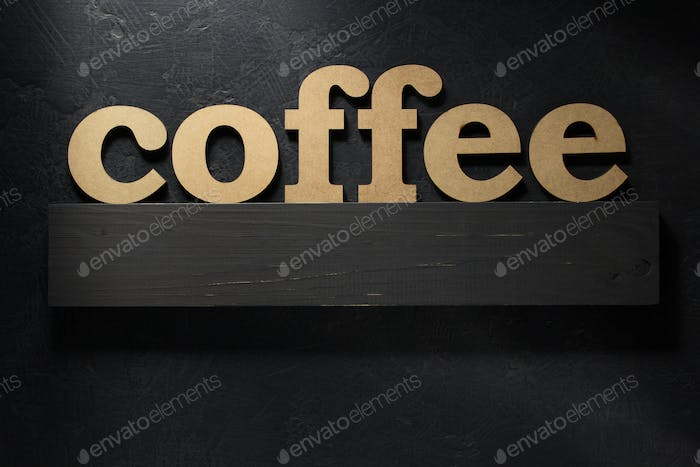 coffee text letters on black