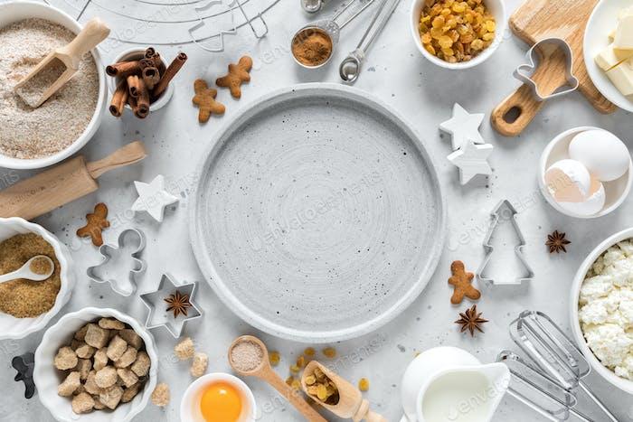 Christmas, New Year, X-mas, Noel or Xmas baking culinary  background, recipe