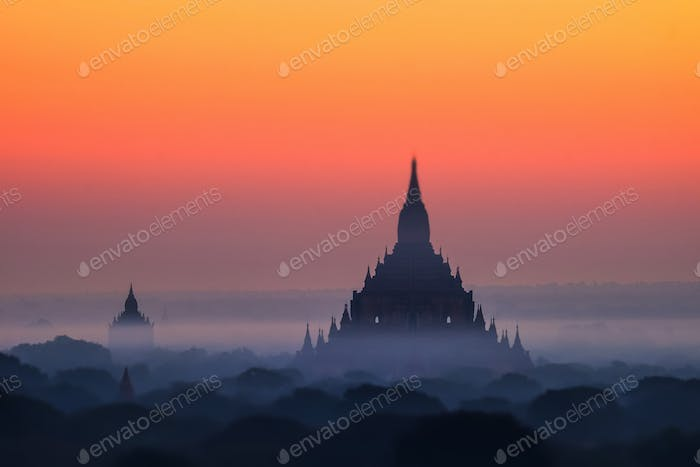Ancient Buddhist Temples of Bagan Kingdom at sunrise. Myanmar (Burma)